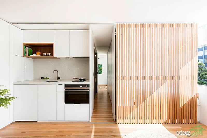 پلان سوئیت کوچک 30 متری با چیدمان مدرن و اتاق خواب مخفی